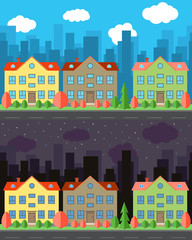 Vector city with two-story cartoon houses in the day and night. Summer urban landscape. Street view with cityscape on a background