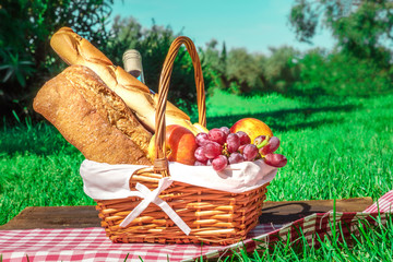 Aluminium Prints Picnic Picnic hamper with bread, fruit, and wine on green lawn
