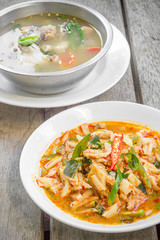Thai food red curry pig with bamboo shoots and fish soup.