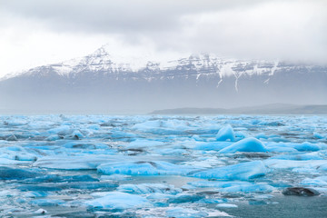 Beautiful view of the floating blue ice in the Jokulsarlon lake in Iceland in winter