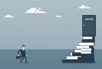 Business Man Go Up On Stairs From Book To Success Door, Successful Opportunity Concept Flat Vector Illustration