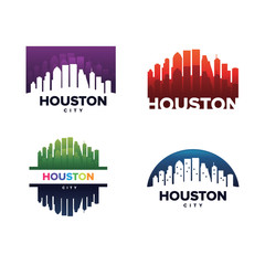 Cityscapes Skylines of Houston City Silhouette Logo Template Collection
