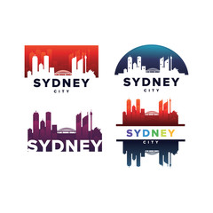 Cityscapes Skylines of Sydney City Silhouette Logo Template Collection