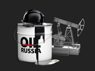 3d illustration of barrel russian oil with oil pump, isolated black