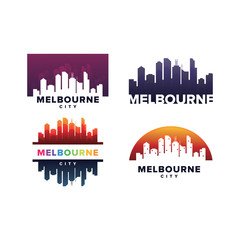 Cityscapes Skylines of Melbourne City Silhouette Logo Template Collection