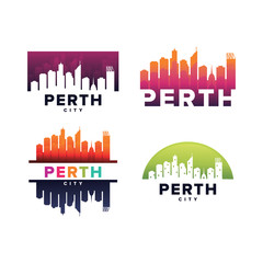 Cityscapes Skylines of Perth City Silhouette Logo Template Collection