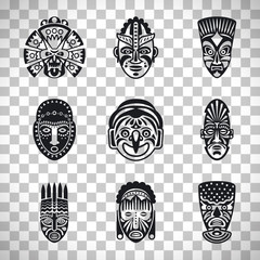 Tribal mask icons on transparent background