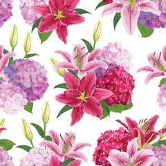 Seamless pattern with colorful lilies flower and hydrangea on white background. Vector set of blooming floral for wedding invitations and greeting card design.