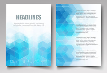 Light blue hexagons and triangles.Translucent mosaic background.Template design brochures,flyers,booklet,report.Vector eps10