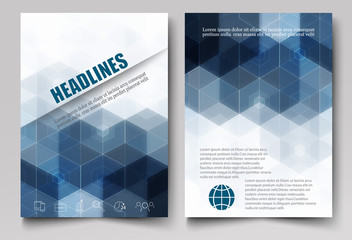 Dark triangles and hexagons on a white background.Template brochures,leaflets,report,journal.Vector eps10