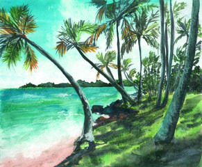 Watercolor hand drawn illustration of tropical beach. Sun, palm, wind, summer, nature, paradise.