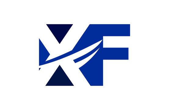 XF Negative Space Square Swoosh Letter Logo