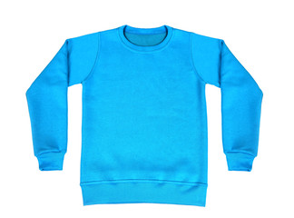 Blank blue sweatshirt white color mock up template on white background