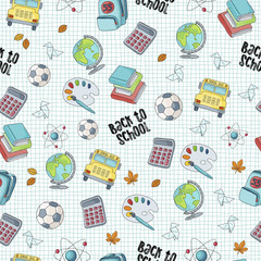 Back to school seamless pattern featuring school life objects and supplies
