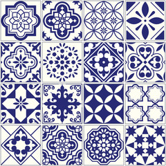 Seamless tiles pattern, Mediterranean floral mosaic set, Lisbon seamless navy blue ornament