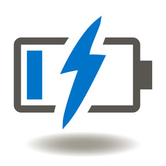 Low Battery Charge Flash Vector Icon. Supply Energy Power Electricity Illustration.