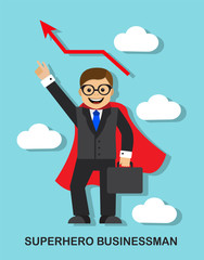 Happy successful businessman a superhero in a red cloak and a blue tie is flying across the sky