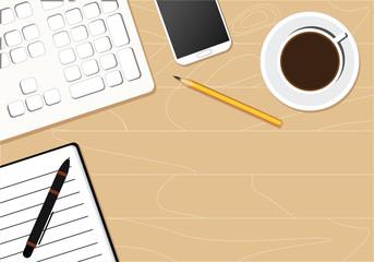 Business background consisting of a keyboard, phone, notebook, pen and pencil on a wooden light background. Business concept.