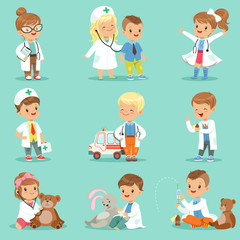 Cute kids playing doctor set. Smiling little boys and girls dressed as doctors examining and treating their patients vector illustrations