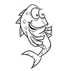 Line Drawing of Smiling Fish Cartoon -Simple line Vector