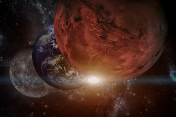 Solar System - Mars. It is the fourth planet from the Sun. Elements of this image furnished by NASA