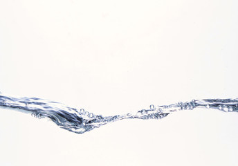 Water and air bubbles over white background. Blue water splash isolated on white