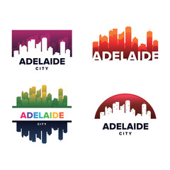 Cityscapes Skylines of Adelaide City Silhouette Logo Template Collection