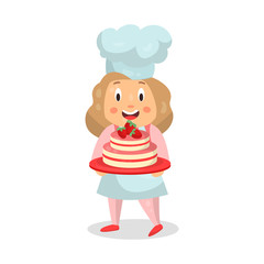 Cute cartoon little girl chef character holding a strawberry cake vector Illustration