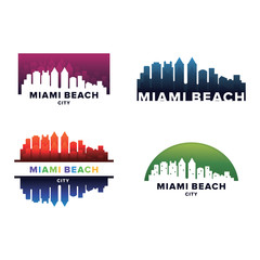 Cityscapes Skylines of Miami Beach City Silhouette Logo Template Collection