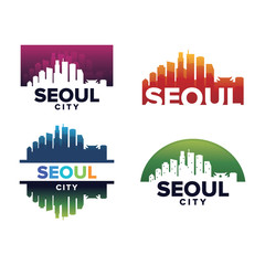 Cityscapes Skylines of Seoul City Silhouette Logo Template Collection