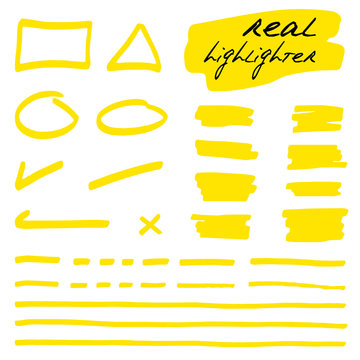 Hand-drawn shapes and lines - real highlighters. Yellow. Vector set. Isolated on white background. Use for note, illustrations and decorations texts, articles, slideshow etc. Eps 10