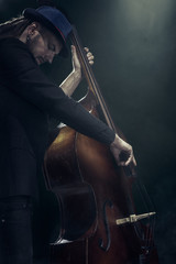 The musician plays the double bass.