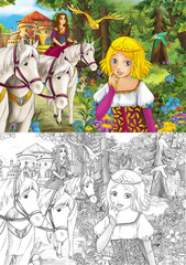 Cartoon happy and funny scene of woman in the forest with her horses near the castle - illustration for children