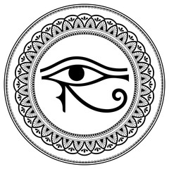 Circular pattern in the form of mandala. The ancient symbol Eye of Horus. Egyptian Moon sign - left Eye of Horus. Mighty Pharaohs amulet. Decorative pattern in oriental style.
