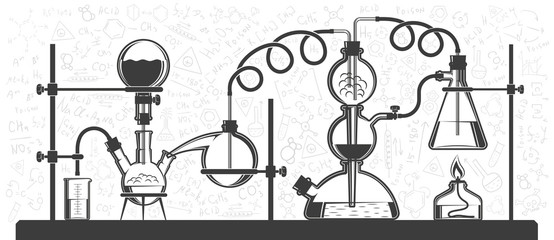 Chemical reaction consisting of flasks and hoses in a scientific laboratory. Vector black and white illustration. Possible reconfiguration.