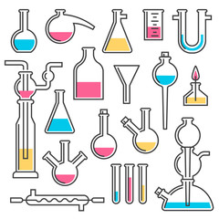 Set of chemical flasks made in styles