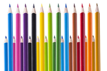 Color pencils on a white background.
