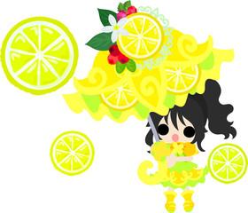 Illustration of the girl having the parasol of the lemon