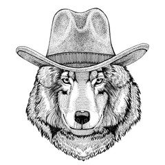 Wolf Dog Wild animal wearing cowboy hat Wild west animal Cowboy animal T-shirt, poster, banner, badge design