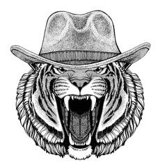 Wild tiger Wild animal wearing cowboy hat Wild west animal Cowboy animal T-shirt, poster, banner, badge design