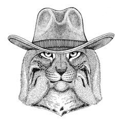 Wild cat Lynx Bobcat Trot Wild animal wearing cowboy hat Wild west animal Cowboy animal T-shirt, poster, banner, badge design