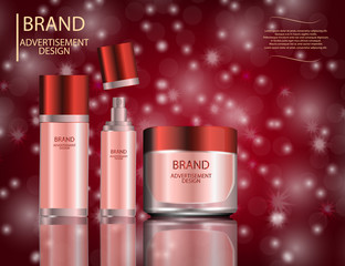 Glamorous facial treatment essence set on the sparkling effects background, elegant ads for design.