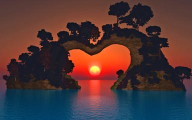 soleil sur montagne coeur 1