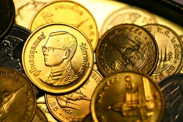 Thai baht coin macro. For background or saving money or business and finance concept..