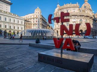 GENOA (GENOVA), ITALY - JULY, 6, 2017 - View of De Ferrari square in Genoa, the heart of the city with the central fountain.