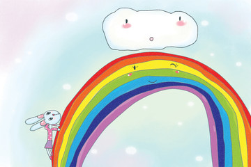 Illustration - The rabbit climbs the rainbow to find clouds.