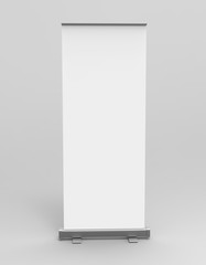 White blank empty high resolution Business Roll Up and  Standee Banner display mock up Template for your Design Presentation. 3d render illustration.