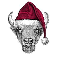 Buffalo, bison,ox, bull Christmas illustration Wild animal wearing christmas santa claus hat Red winter hat Holiday picture Happy new year