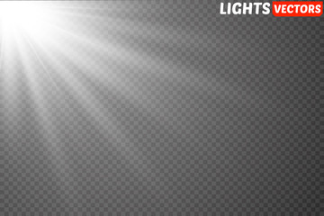 Lens flare light effect. Sun rays with beams isolated on transparent background. Vector illustration.