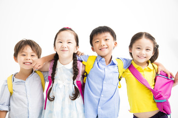 Group of happy smiling kids standing together.